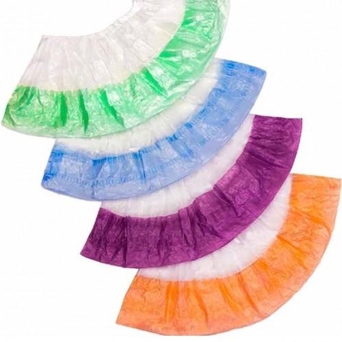 Бахилы двойные Экстра (бело-голубые, красные, зеленые, оранжевые, фиолетовые, желтые)