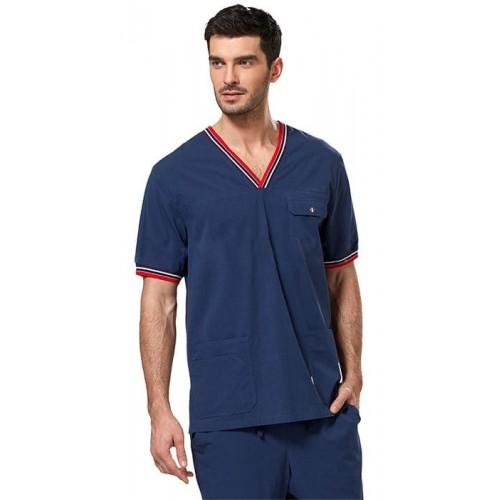 Блуза мужская синяя из бамбукового волокна