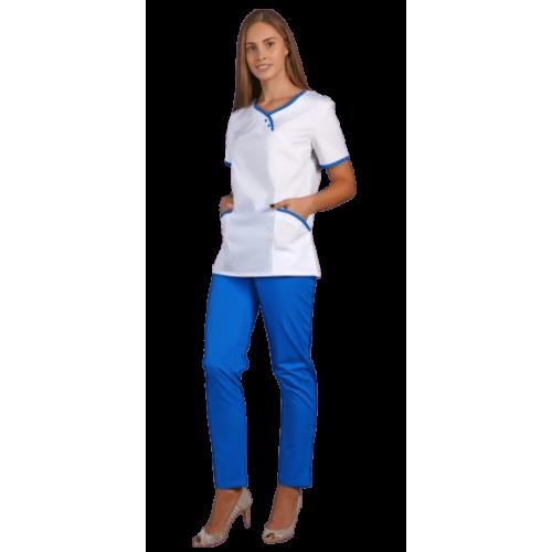 Блуза женская с васильковыми вставками