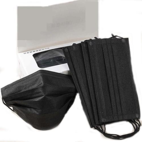Черная медицинская маска на резинках