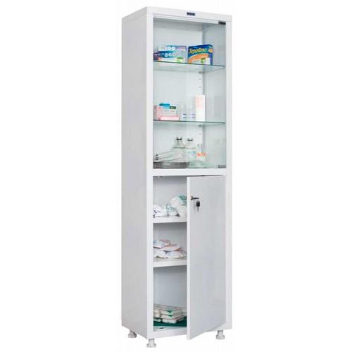 Шкаф медицинский HILFE МД 1 1657/SG одностворчатый, верх - стекло, низ — металл