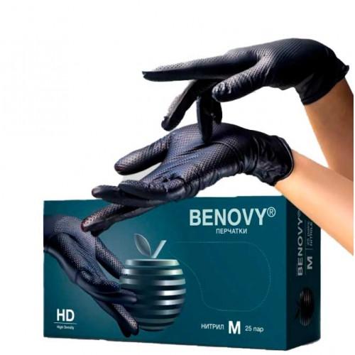 Перчатки нитриловые BENOVY особопрочные с ромбовидной текстурой