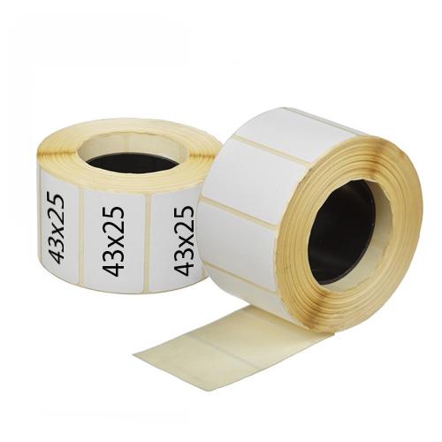 Полуглянцевые термоэтикетки для пробирок 43х25 мм в рулоне