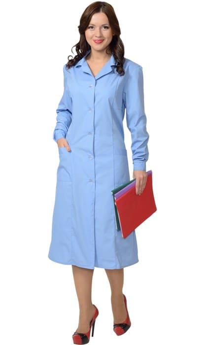 Халат медицинский женский голубой тканевый