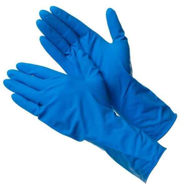 Перчатки медицинские нитриловые одноразовые синего цвета на руках