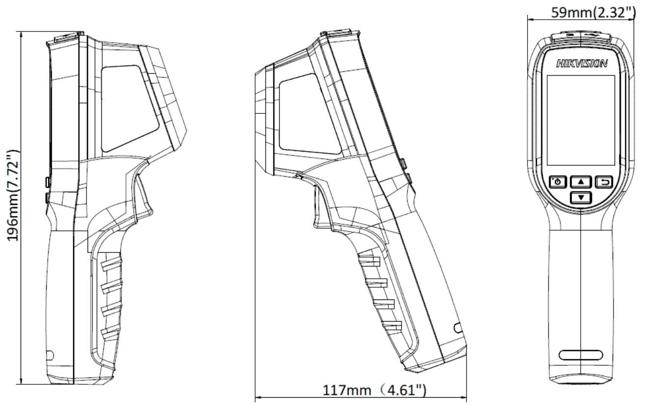 Ручной тепловизор Hikvision DS-2TP31B-3AUF габаритные размеры