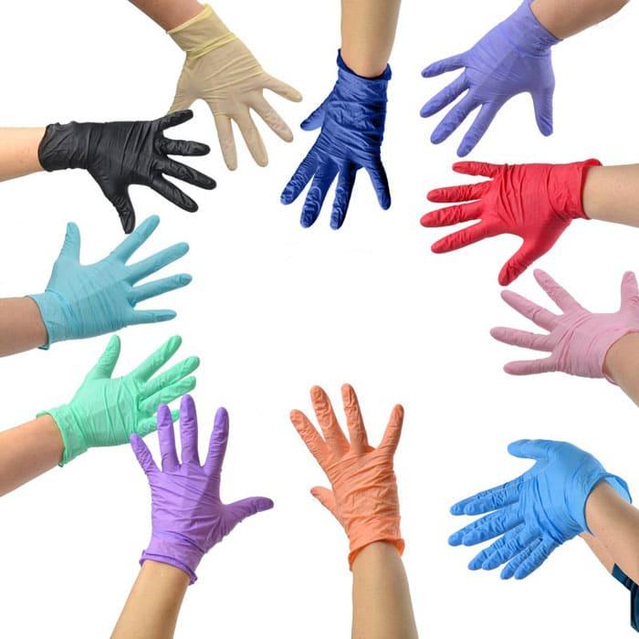 перчатки латексные одноразовые цвета в ассортименте белые, синие, розовые, красные и т.д.