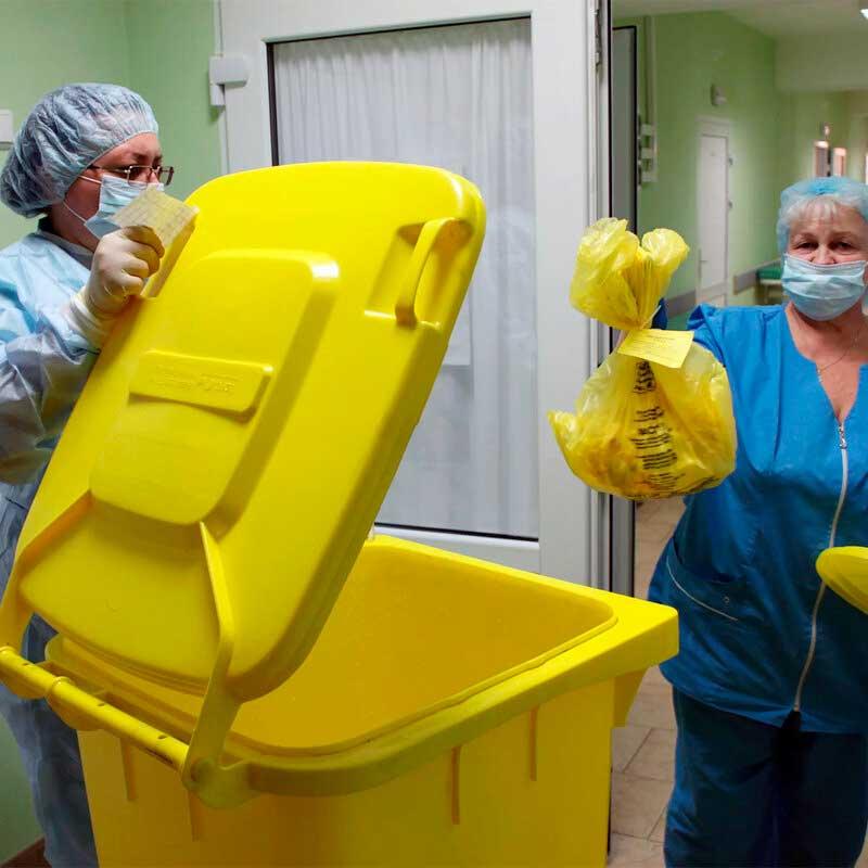 Контейнер для медицинских отходов желтого цвета